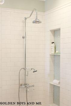 master bath white subway tile, glass tile shower niche, exposed shower - www.goldenboysandme.com