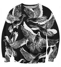 B&W Doves 2 sweater Thumbnail 1