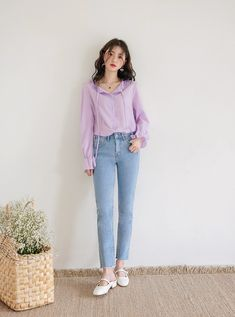 Modest Casual Outfits, Uni Outfits, Purple Outfits, Korean Outfits, Comfortable Outfits, Fashion Outfits, Casual Asian Fashion, Korean Street Fashion, Korea Fashion