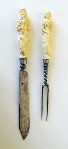 Cutlery set, knife and fork, made of steel, silver and ivory. From Germany - ca 1675-1700. It wasn't until the mid 1800s that people had large cutlery sets and were expected to provide knives, forks, and spoons to their guests. People used to have personal cutlery sets that they would bring with them to dinner parties and banquets.