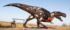 Scrap Metal Sculpture Made Of Old Farm Equipment by John Lopez. Steampunk Dinosaur