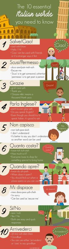 10 Useful Italian Words You Need to Know Before Traveling to Italy (Infographic) The 10 essential Italian phrases you need to know before traveling to Italy. – Culture Trip's ultimate list of what Italian words you need to know. Italy Travel Tips, Travel Destinations, Budget Travel, Cheap Travel, Cinque Terre, Florida Hotels, Italian Vocabulary, Italian Words, Basic Italian