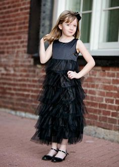 The Hair Bow Company | Special Occasion Black Tulle Tiered Dress for Girls