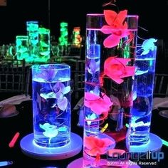 We love these LED Centerpieces - perfect for any Event! Quince Decorations, Quinceanera Decorations, Glow Party Decorations, Quince Themes, Table Decoration, Quince Ideas, Led Centerpieces, Wedding Centerpieces, Bat Mitzvah Centerpieces