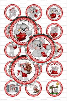 INSTANT DOWNLOAD  Vintage Valentine Bears  4x6 by PartyPotpourri, $1.50