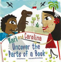 Karl and Carolina Uncover the Parts of a Book (In the Library) by Sandy Donovan http://www.amazon.com/dp/1404861076/ref=cm_sw_r_pi_dp_L9bjub081RWM5