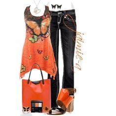 """""""Orange Butterfly"""" by jaimie-a on Polyvore"""