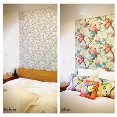 Bedroom DIY- Didn't like the wallpapered section behind my bed, solution: duvet cover + custom frame = instant headboard  Duvet & pillowcases: Butterfly Home by Matthew Williamson