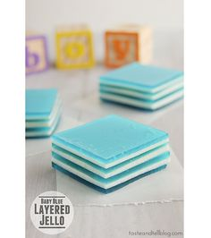 Baby Blue Layered Jello ....for a baby boy shower...but just think of all the other fun ideas and color!!