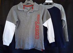Lot 2 Gymboree T Shirt Sz 6  Carters Shirt Sz 7 Long Sleeves Rough & Rugged Gray #Carters #Everyday