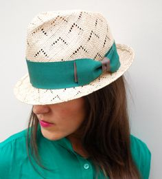 Patterned Straw Fedora / trilby / Mens or Womens Hat