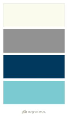 Ivory, Classic Gray, Navy, and Turquoise Wedding Color Palette - custom color…