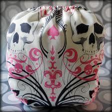 Pink Skull cloth diaper!