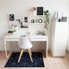 WORKSPACE in white what a dream by ! Please check out her feed Thank you so much for participating my sfs . - Architecture and Home Decor - Bedroom - Bathroom - Kitchen And Living Room Interior Design Decorating Ideas - Study Room Decor, Cute Room Decor, Room Ideas Bedroom, Bedroom Decor, White Desk Bedroom, Study Rooms, Study Desk, Work Desk, Home Office Design