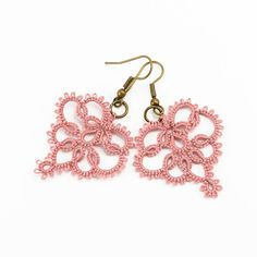 Delicate lace earrings lace jewelry in dusty rose pink -. £16.00, via Etsy.