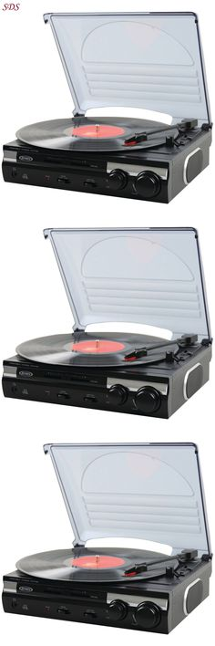 Record Players Home Turntables: Stereo Turntable Record Player Jensen 3  Speed With Speakers Mp3 Connection
