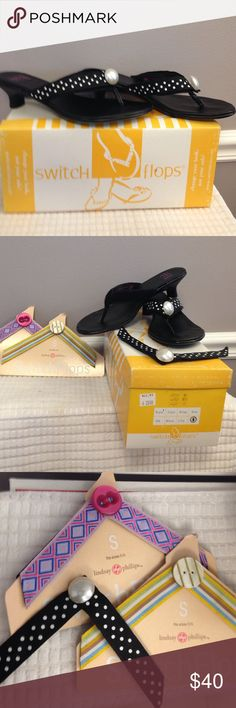 """Switch flops with 3 changeable tops. Heel 1 1/2 """" Black Lilly size 6 switch flops. V-shape on top has Velcro. Comes with three sets of toppers Lulu designs inc Shoes Heels"""
