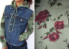Reconstructed Floral Hoodie Jean Jacket by HOTRS on Etsy, $63.00