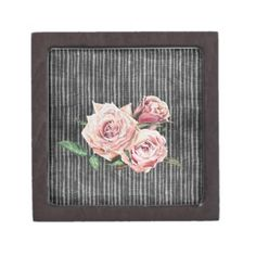 Watercolor Flowers on Dark Burned Wood Gift Box - watercolor gifts style unique ideas diy