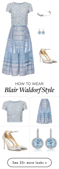 """""""Blair Waldorf"""" by sugardaddystyle on Polyvore featuring TIBI, Adrianna Papell, Jimmy Choo, Diana M. Jewels and Oscar de la Renta"""