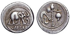 The famous 'Elephant Denarius' of Julius Caesar, struck in a traveling mint, c. 49-48 BC On the obverse is a group of religious symbols including a simpulum (libation ladle), an aspergillum (implement used to sprinkle holy water), an axe surmounted by a wolf's head, and an apex (hat). On the reverse, an Elephant advancing right, trampling on a horned serpent, CAESAR inscription below. It is estimated that 22 million of these were minted, making them the third most minted co...