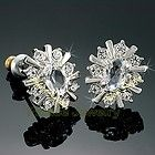 New 18k White Gold gp Stud Earrings Jewelry use Swarovski Crystals E708 - Designer Jewelry Galleria