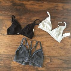 3 bras! Gap and Chaser brands 2 Gap Pure Body convertible bras and 1 Chaser bralette. Unfortunately, they are a tad too small. Would fit 32 A-B. Gap bras are new. Wore black one once. Can purchase as a bundle or separately. Chaser Intimates & Sleepwear Bras