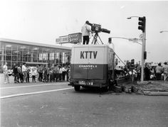 # Mid-Century L. Los Angeles Mobile Unit News Channel KTTV - intersection of Hillcrest and unknown street. Inglewood California, Los Angeles California, Southern California, Bullhead City, Hiking Places, San Luis Obispo County, San Fernando Valley, California History, Los Angeles Area