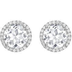 Kiki Mcdonough Grace White Topaz & Diamond Halo Stud Earrings in 18K... ($1,190) ❤ liked on Polyvore featuring jewelry, earrings, halo diamond earrings, 18k jewelry, round earrings, 18 karat gold jewelry and white gold earrings