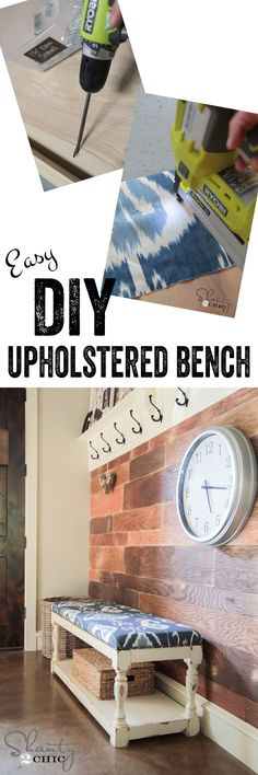 Free and Easy DIY Furniture Project Plan from Shanty2Chic: Learn How to Build this Upholstered Bench