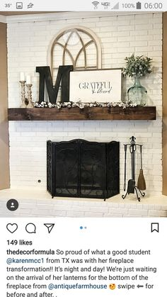 Trendy Farmhouse Style Mantle Decor Family Rooms You are in the right place about country farmhouse decor ladder Here we offer you the most beautiful pictures about the cou Farmhouse Mantel, Rustic Mantel, Rustic Fireplaces, Home Fireplace, Country Farmhouse Decor, Farmhouse Style, Brick Fireplace Decor, Modern Farmhouse, Farmhouse Furniture
