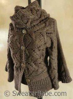 #128 Kimono Sleeve Sideways Cardigan & Cowl Set #SweaterBabe.com #knitting