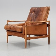 lb Kofod Larsen, Teak & Leather Lounge Chair for OPE, c1960. I have two chairs similar to this I could make leather cushions for.