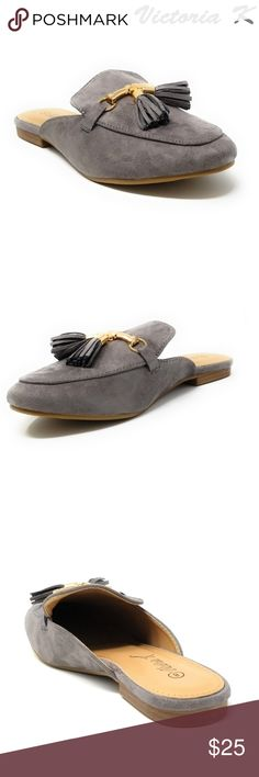 Women Suede Mules with Tassels, HK-7081, Gray Slip on a pair of gorgeous brand new suede grey flat slippers that make you a fashionable woman. Faux-leather upper. Rubberized outer sole for traction. Sizes 6 through 8 are true, but 9 and 10 run small by a half-size. A true statement in ladies shoes fashion! Victoria K Shoes Flats & Loafers