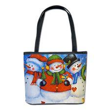 3 Happy Snowmen Bucket Bag