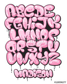 Vector: Graffiti bubble shaped alphabet set