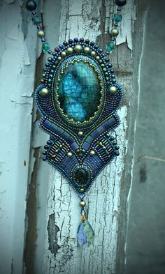 Beaded necklace -Beadwork jewelry with natural stones-Embroidered Necklace -The Mirror Jewelry Necklace Beadwork Embroidered Necklace embroidery beading Beadwork jewelry Beaded necklace natural stones labradorite seed bead necklace dichroic glass Swarovski crystals 127.00 USD #goriani