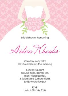 Wedding Shower Invitation Template Bridal Card