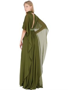 ELIE SAAB - PLEATED SILK GEORGETTE CAPE GOWN - LUISAVIAROMA - LUXURY SHOPPING WORLDWIDE SHIPPING - FLORENCE