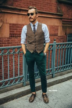 August 14, 2015.Shirt: Aspecd Apparel (c/o) (similar)Vest: Ludlow Herringbone Wool - J. Crew - $73.50 (similar)Pants: Slim Chinosin Dark Green - ASOS - $33Shoes: Charlie - J. Shoes - JackThreads - $80Tie: The 1969 in Navy - Shop Stay ClassicSunglasses: Ray Ban Clubmaster - $87 (knockoffs)Watch: Classic Slim - Brathwait (c/o)