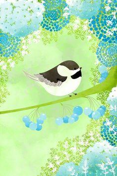 Bird Wall Art Print  Chickadee Small Print  by TheFoxandTheTeacup, $8.00