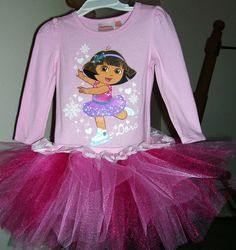 Dora the Explorer  Ice Skating  pink tutu dress size 2t..3t..4t..5t..ready to ship on Etsy, $25.99
