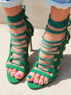 Green Suede Lace Up Gladiator Heeled Sandals