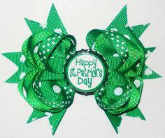 Happy St Patricks Day Bow-wholesale st patricks day bow