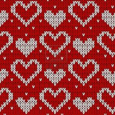 Red knitted background with hearts. Red knitted background with hearts. Stock Photo Record of Knitting String rotating, weaving and sti. Knitting Charts, Knitting Stitches, Knitting Designs, Knitting Socks, Fair Isle Chart, Fair Isle Pattern, Stitch Patterns, Knitting Patterns, Crochet Patterns