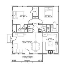 Craftsman Style House Plan - 2 Beds 2 Baths 930 Sq/Ft Plan #485-2 Main Floor Plan - Houseplans.com