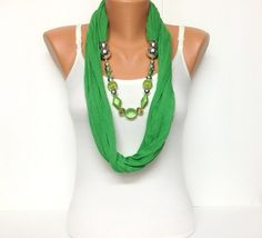 green jewelry scarf
