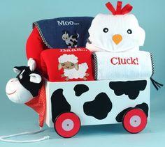 Barnyard Welcome Wagon Gift Set for Boy or Girl by Baby GIfts-N-Treasures #barnyard #moo #cow #babygifts #creativebabygifts #welcomewagon #babygiftwagon #BabyGiftsNTreasures