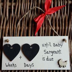 'Double Heart Range' Countdown to Baby Plaque - Pram