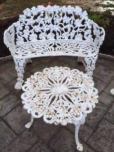 19th Century ornate Italian botanic arboretum solarium cast iron paired 4 piece garden patio furniture set loveseat settee two chairs table